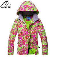 SAENSHING Women Waterproof Ski Jacket Thermal Camouflage Girls Snow Jacket Snowboard Skiing Sportswear New Outdoor Ski