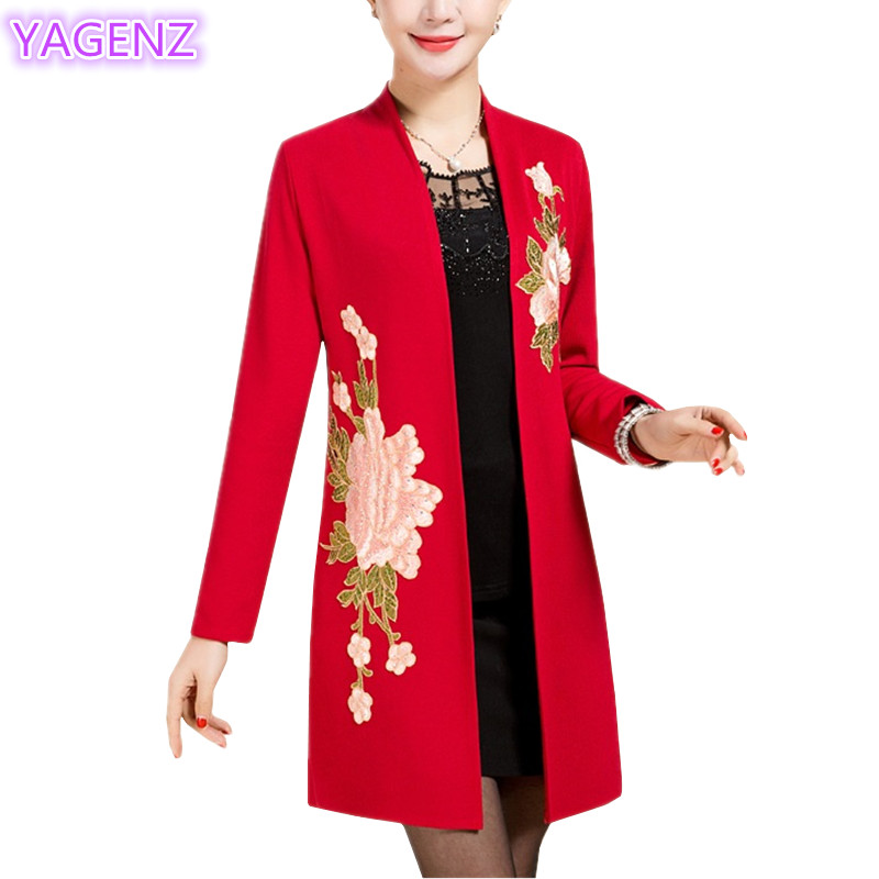 YAGENZ Plus size Trench Coat Cardigan Coat Spring Coats Women Flowers Embroidered Long Coat Middle-aged Flowers Cloak Tops A93