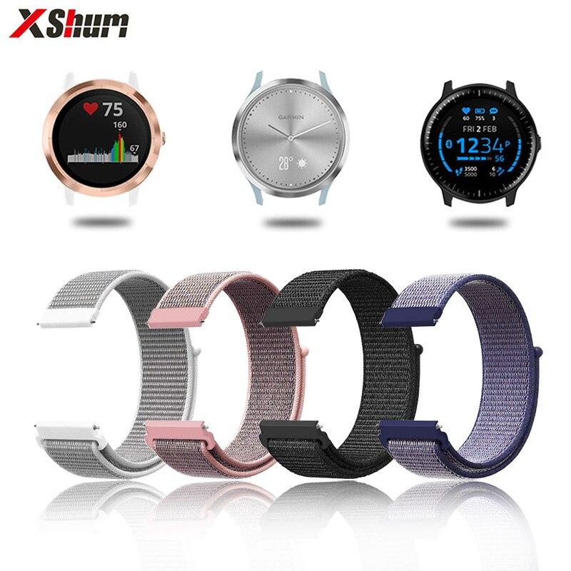 XShum 20mm Nylon Vivoactive 3 Watch Band Velcro Strap For Garmin Vivoactive3/Vivomove HR/Forerunner 645 Smart Bracelet Wrist