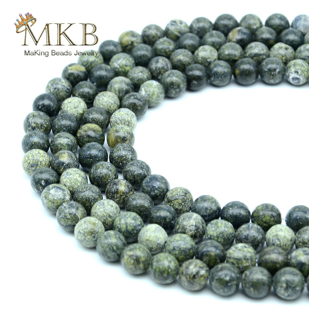 Jewelry & Accessories Perles Natural Stone Green Lace Round Loose Beads 4 6 8 10mm Gem Spacer Beads Making Bracelet Necklace Wholesale 15inch Beads