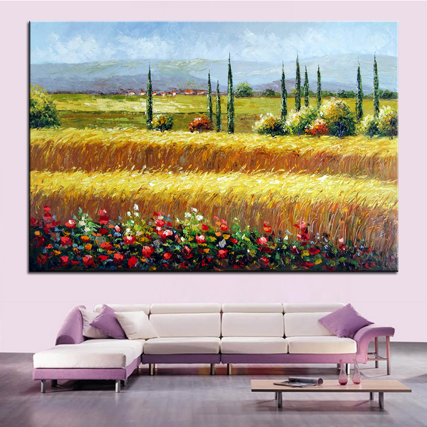 Extra Large wall Painting of Golden wheat Home Office Decoration paint Canvas Prints No Framed Canvas wall picture Giclee art no frame canvas