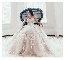 לורי Boho חתונת שמלות מתוקה אפליקציות אונליין סטרפלס נסיכת תחרה עד חזרה הכלה שמלת חתונת שמלה