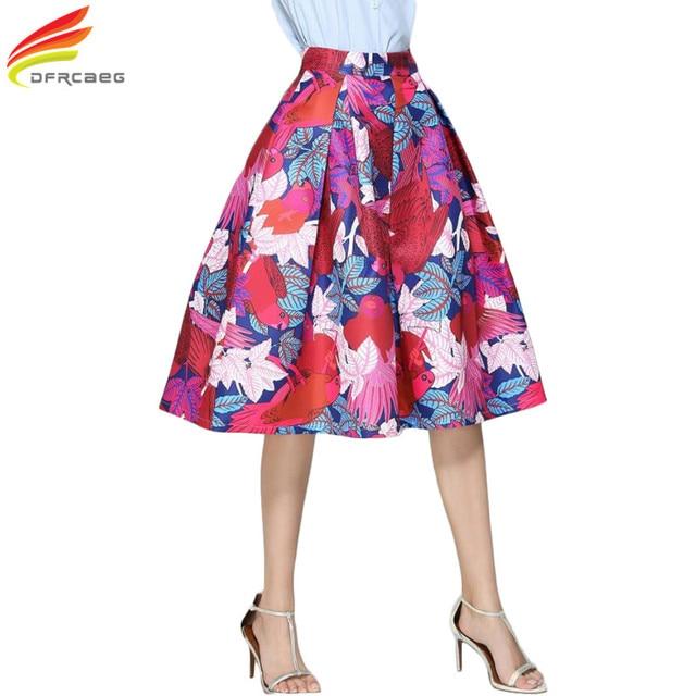 5da5ca62092 Faldas Vintage 2018 Retro Big Swing Red Skirt Print Cartoon A-Line Saias  Midi Skirts High Waist Elegant Tutu Pleated Jupe Femme