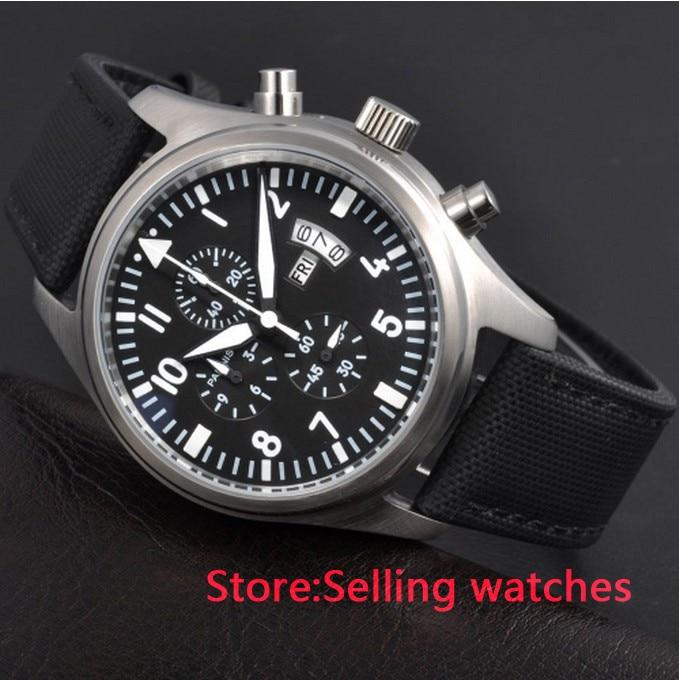 Parnis 42mm Quartz Full Chronograph Function Men Watch Date WatchParnis 42mm Quartz Full Chronograph Function Men Watch Date Watch