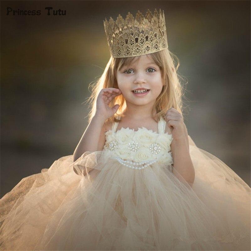 Flower Girl Dresses for Weddings Ball Gowns Baby Girl Pageant Birthday Party Tutu Dress Fancy Tulle Children Kids Princess Dress