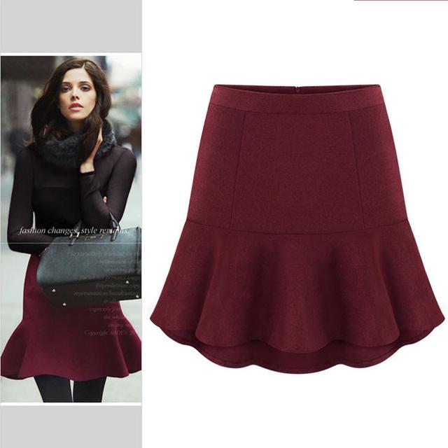 2017 moda inverno de lã saias curtas das mulheres elegante sereia mini saia xs-xxl vinho tinto preto cinza camel frete grátis