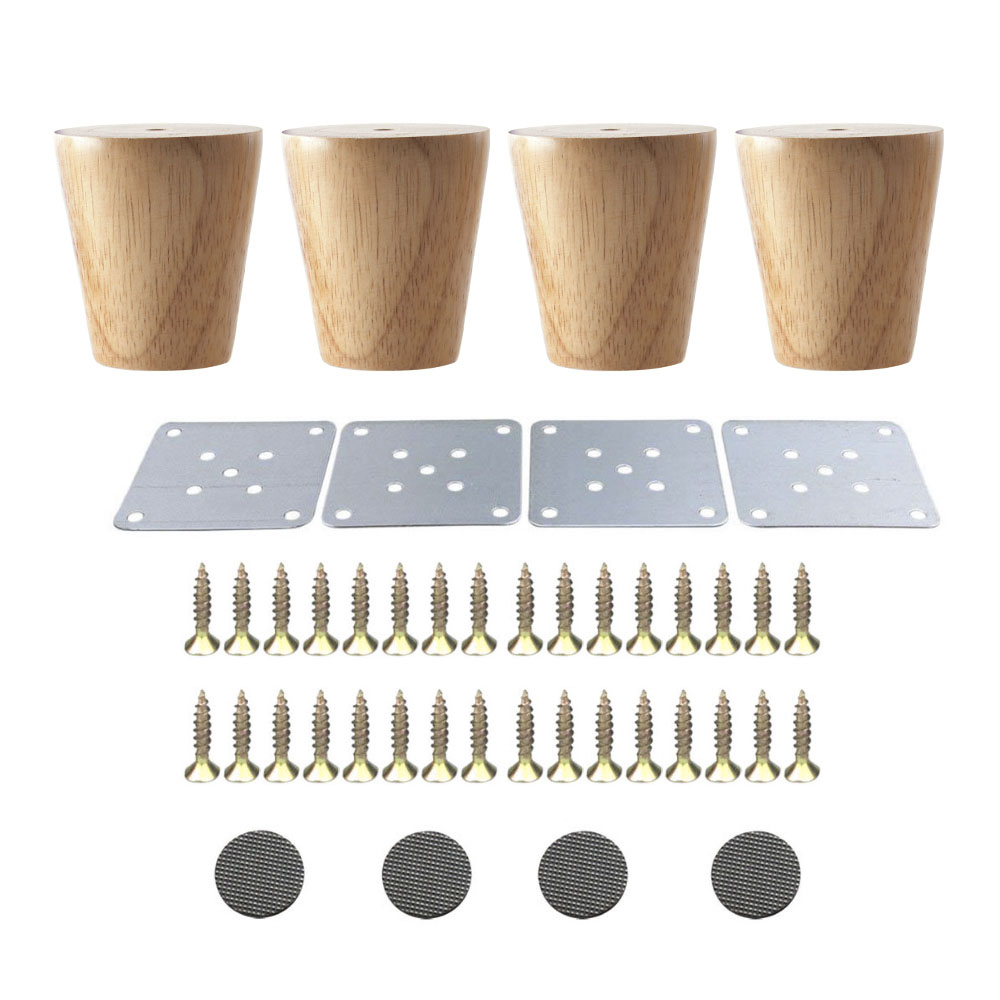 4PCS 58x60x38mm Oak Furniture Legs Wooden Furniture Feet Cabinet Table Sofa Legs with Iron Pads Gaskets Screws 4pcs 150mm height furniture legs adjustable 10 15mm cabinet feet silver tone stainless steel leveling feet for table bed sofa