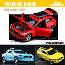 1:32 Scale Diecast Alloy Metal Luxury Wagon Car Model For VOLVO XC Coupe Collection Model Pull Back Toys Car With Sound&Light