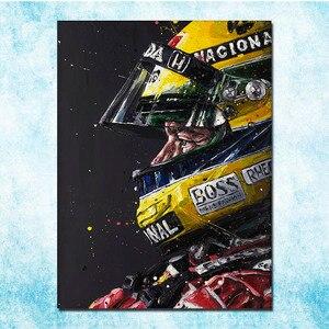 Ayrton Senna F1 racing champion Silk Canvas Poster 13x18 24x32 inches Home Wall Decoration (more)-3(China)