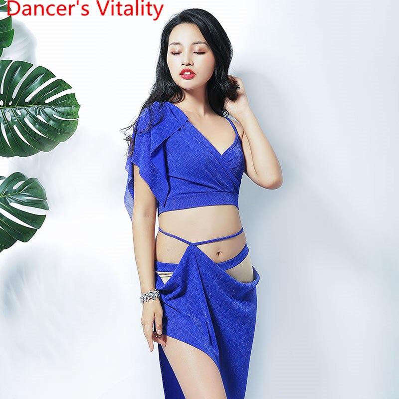 Mesh Sexy Transparent Women 2 Belly Dance Costume Long Piece Dancer Practical Skirt Dance Team Wear Oriental Dance Clothes