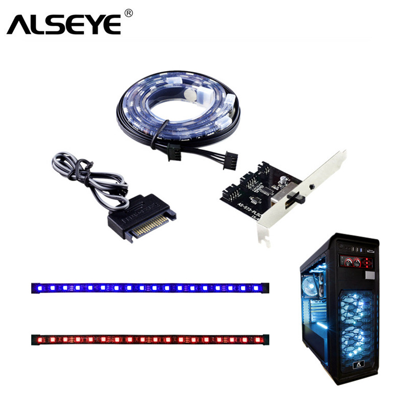Alseye Cls-100 Rgb Ventilator En Led Strips Controller Computer Case Backlight (1 Paar) Siliconen Ip68 Magnetische 30 Cm Strips Exquise (On) Vakmanschap