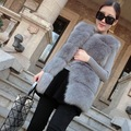 Warm Winter Fur Vest Women Fashion Sleeveless Winter Coat Women Md-long Slim Natural Faux Fur Coat Grey/Black Free Shipping