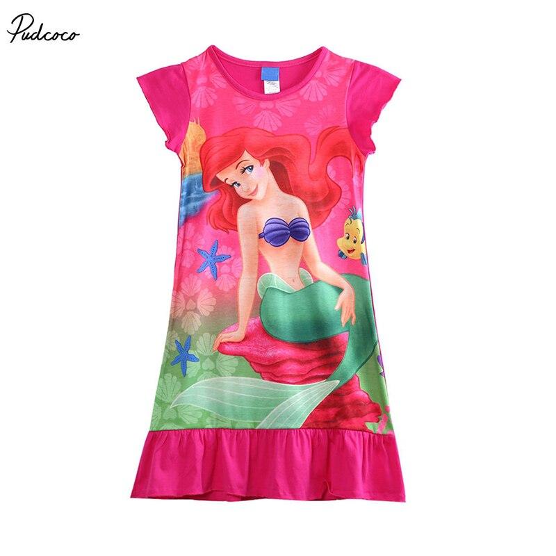 Kleider Mädchen Kleidung Romantisch 2017 Heißer Mädchen Kleider Mädchen Kind Kinder Meerjungfrau Ariel Kleid Pyjama Nachtwäsche Nachthemd Kleid 6-16yr