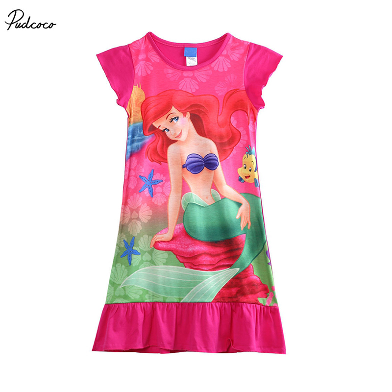 2019 Hot Cute Girl Dresses Girl Child Kids Mermaid Dress Pyjama Nightwear Nightie Clothes Cartoon Princess Dress 6-16Years