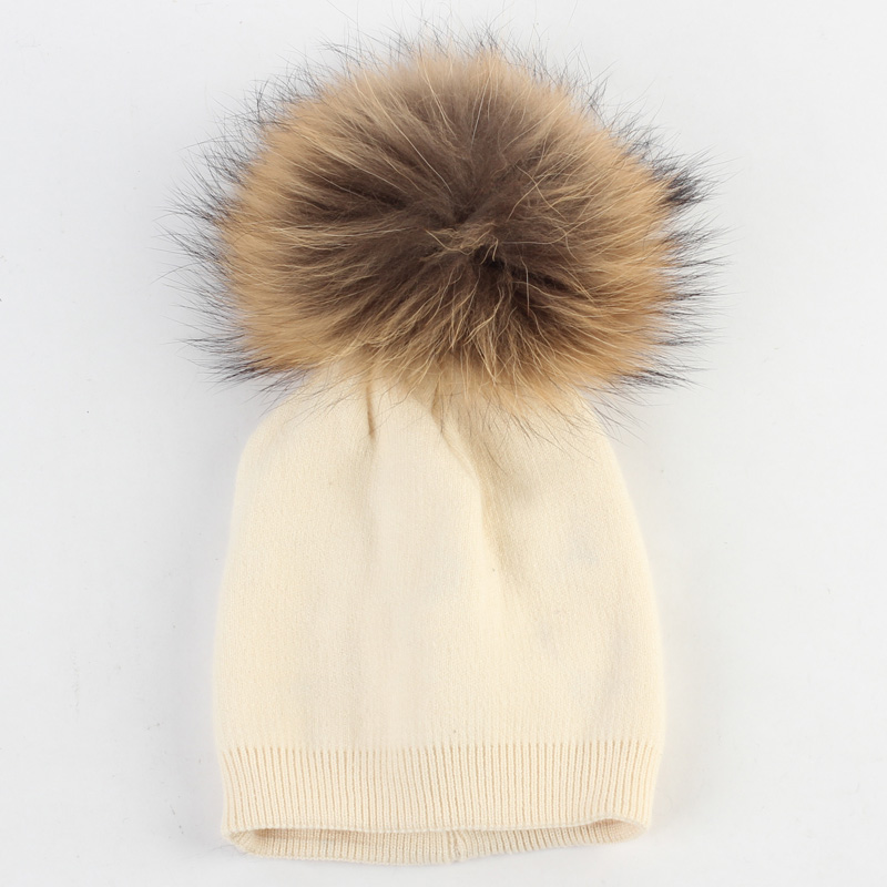 4bb6b4005 Baby Beanie Hat Autumn Wool Skullies Beanies with Raccoon Fur Pompom  Newborn Boys and Girls Slouchy Real Fur Winter Pompon Hat