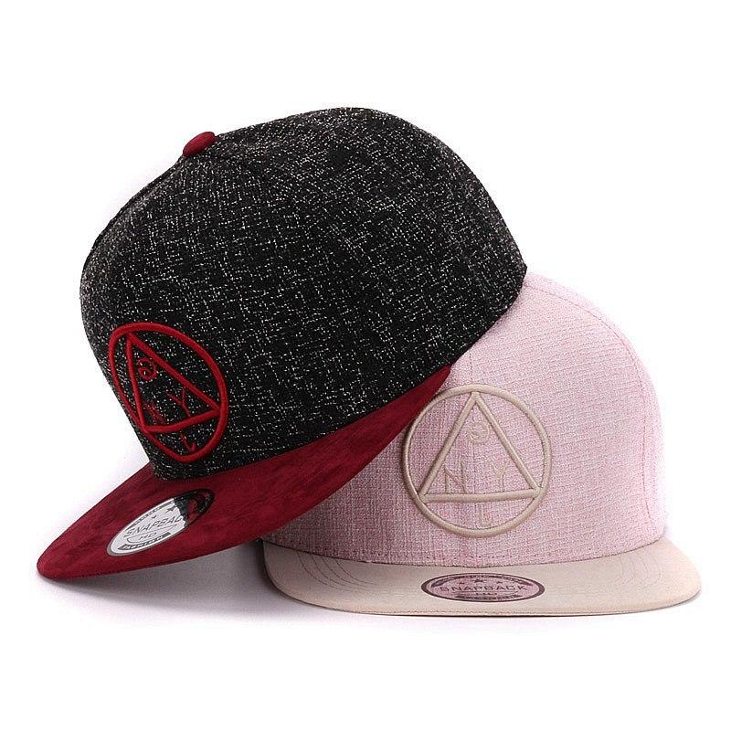 Prix pour Qualité Snapback cap NY ronde triangle broderie marque bord plat casquette de baseball cap jeunes hip hop cap et chapeau pour garçons et filles