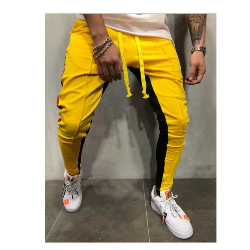 Новые осенние мужские повседневные облегающие брюки, спортивный костюм, брюки в полоску для бега, тонкие длинные спортивные штаны