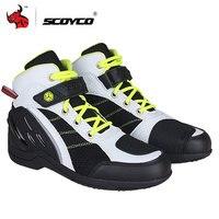 SCOYCO Мужские ботинки в байкерском стиле дышащие мото ботинки мотокросса внедорожная обувь для бега мотоцикл защитное снаряжение для езды об...