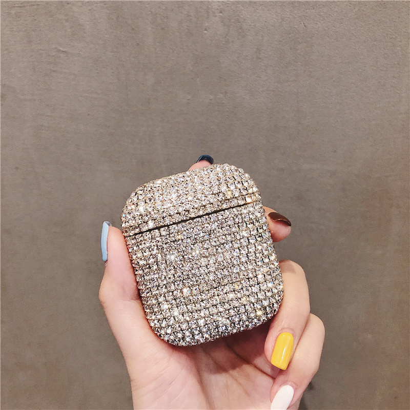 Glitter Rhinestone Bling Diamond Hard case for iPhone Airpods 1 2 protective cover Bluetooth Earphone case <font><b>bag</b></font> image