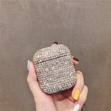 Glitter Rhinestone Bling elmas sert iphone için kılıf Airpods 1 2 koruyucu kapak Bluetooth kulaklık kutusu çantası