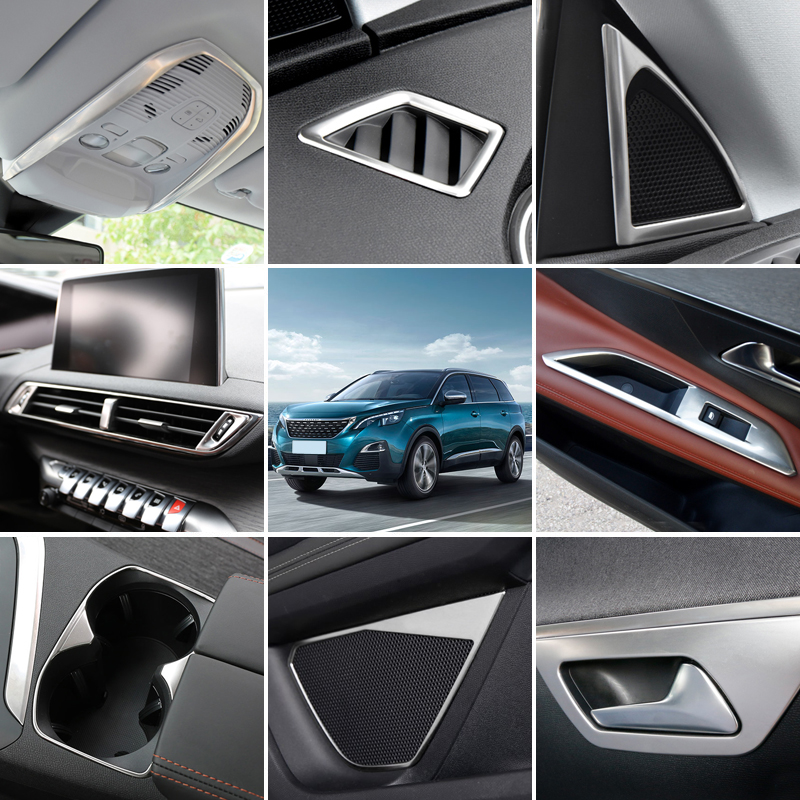 Fit Left Hand Drive! For Peugeot 3008 GT 2016 2017 2018 Stainless Steel Car Interior Accessories Cover Trim Stickers 28pcs