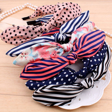 1pc Fashion Women Headband Wide Ribbon Bowknot Wire Bendy Bow Rabbit Ears Bunny Kawaii Jumbo Diverse Gift Hair Accessories
