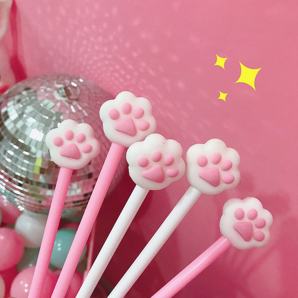 Cute Cat Paw Pink Heart Gel Pen Signature Pen Escolar Papelaria School Office Supply Promotional Gift 4 pcs pack novelty cute my neighbor totoro gel ink pen signature pen escolar papelaria school office supply