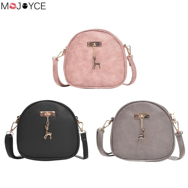 c70db8eb1d2f Cute Simple Zipper PU Leather Women Mini Bag With Deer Zipper Round Shoulder  Handbags Girls Crossbody Messenger Bags