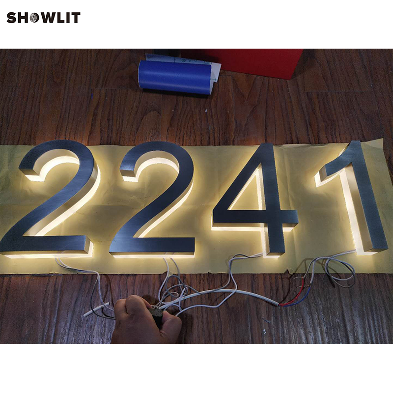 Modern Lighted Brushed 8 House Numbers and Illuminated Letters no lighting black mailbox numbers and letters