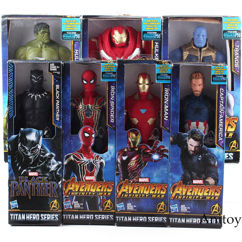 Avengers Infinity Guerra Titan Hero Serie Thanos Iron Spider Captain America Black Panther Iron Man Hulk Hulkbuster Figure Giocattoli