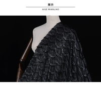New fashion import black heavy silver lustre feel three dimensional eyelash tassel lace mesh fabric