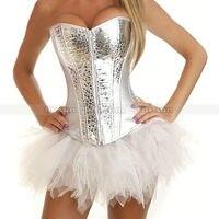 Srebrny biały błysk faux leather zip gorset lace up gorset clubwear top + biały tutu spódnica sml xl 2xl