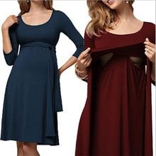 Fashion Maternity Nursing Dress Wrinkled Long Belt Round Neck Pregnant Women Breastfeeding Dress Maternity Summer Clothes
