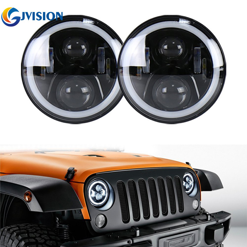 2PCS Black 50W 7inch led headlight with White DRL Yellow (Amber) Turn signal lights for Jeep Wrangler LandRover Defender lamps акустические кабели black rhodium tango white 2 5m page 7
