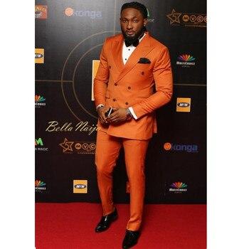 New Arrival Orange Double Breasted Men Suit Blazer Slim Fit Skinny Groom Suits Custom Prom Tuxedo 2 Piece (Jacket+Pants)123