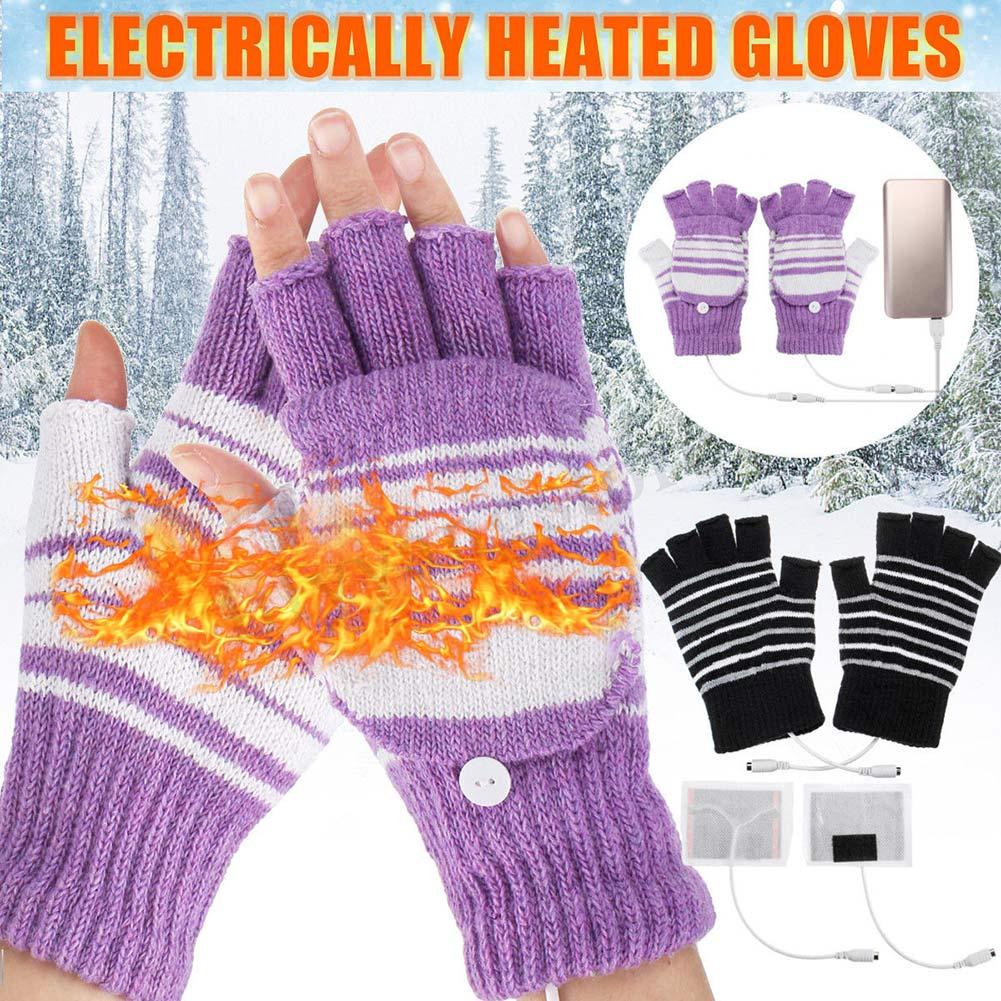 1 Paar Elektrische Usb Beheizte Handschuhe Winter Stricken Thermische Handschuhe Hände Wärmer Geschenk Neue Extrem Effizient In Der WäRmeerhaltung