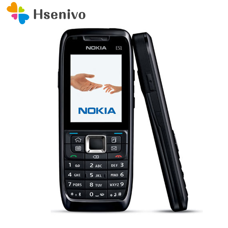 E51 Original Nokia E51 Mobile Phones Bluetooth JAVA WIFI Unlock Cell Phone Refurbished Free Shipping In