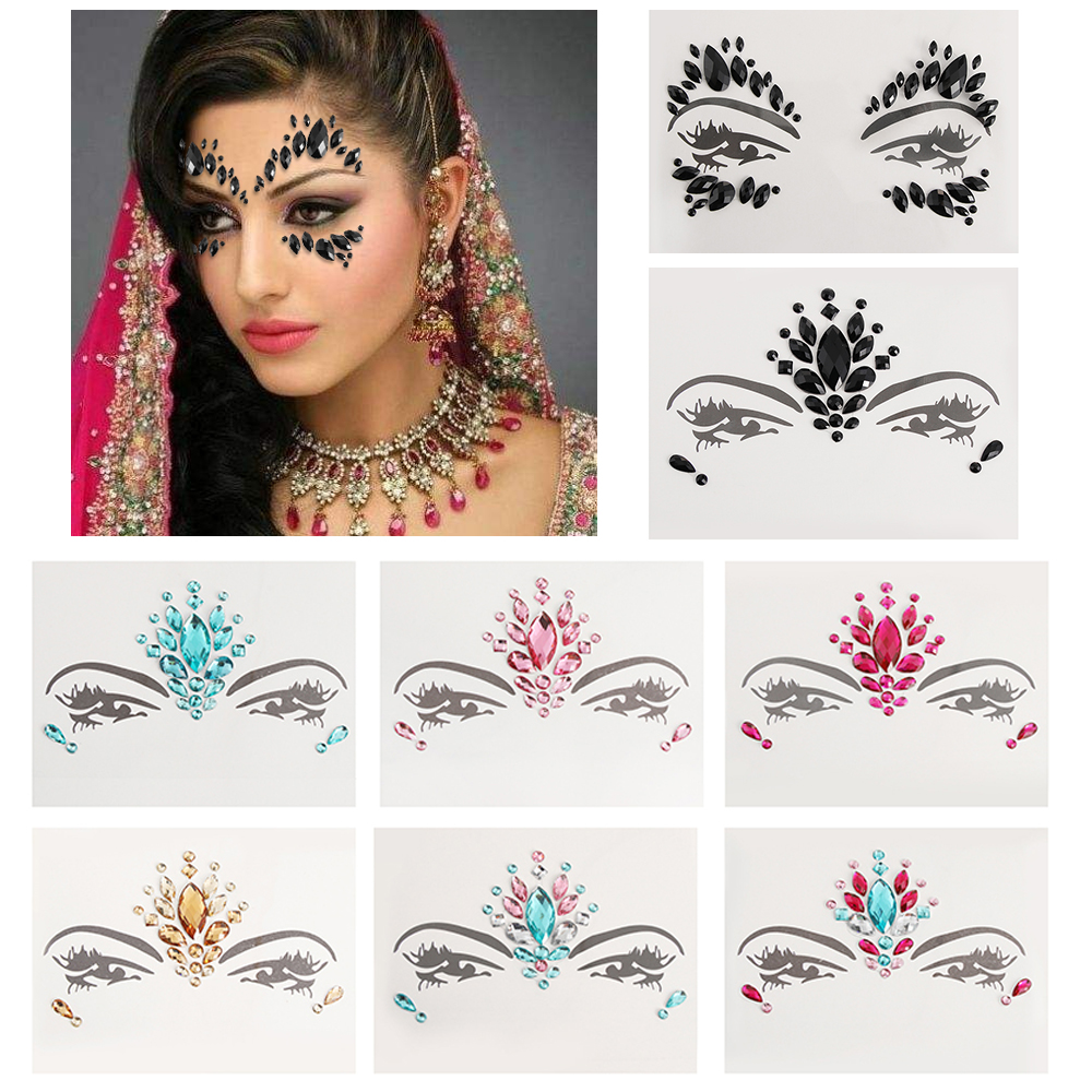 Women DIY Temporary Tattoo Adhesive Face Gems Rhinestone Jewels Festival Party Body Glitter Stickers Makeup Xmas Decor