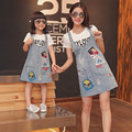 Mother Daughter Dress Novelty Cute Casual Skirt With Braces Cotton T-shirt+Denim Skirt Kids Summer Clothes Family Matching Dress