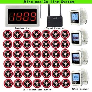 Беспроводная система вызова пейджера для кафе Кофейня хост приемника + 4 шт. часы приемник + повторитель сигнала + 42 шт. кнопка вызова F3290D