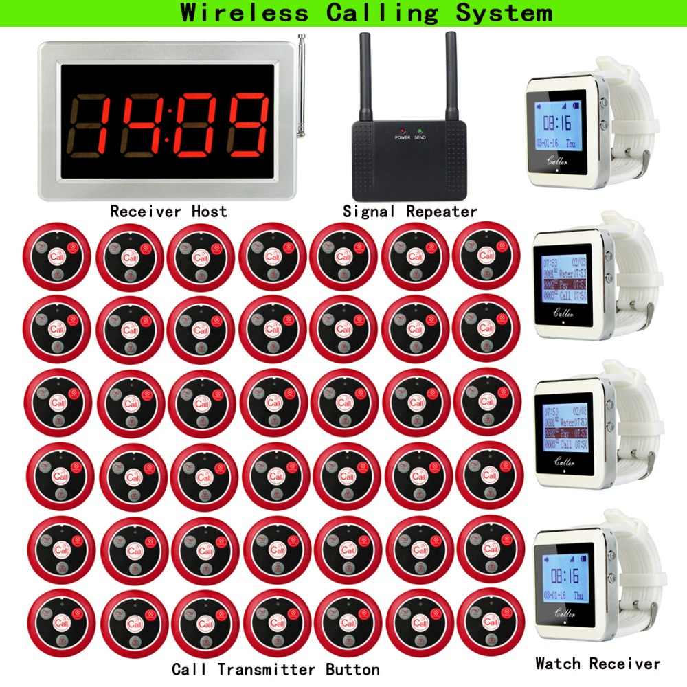 Wireless Pager Calling System For Cafe Coffee Shop Receiver Host+4pcs Watch Receiver+Signal Repeater+42pcs Call Button F3290 20pcs call transmitter button 3 watch receiver 433mhz 999ch restaurant pager wireless calling system catering equipment f3285c