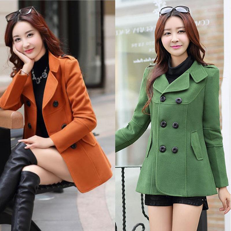 Coats Female 2019 Winter Clothes Short Wool Coat Women  Korean Woolen Coat Fashion Double-breasted Cardigan Jacke Elegant Blend