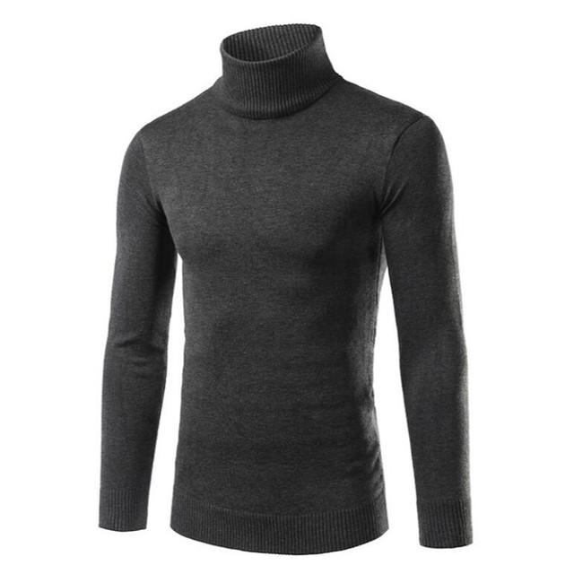 Novo 2016 inverno Dos Homens de lazer da moda algodão puro gola alta moda tricô camisola/camisola Dos Homens de negócio magros
