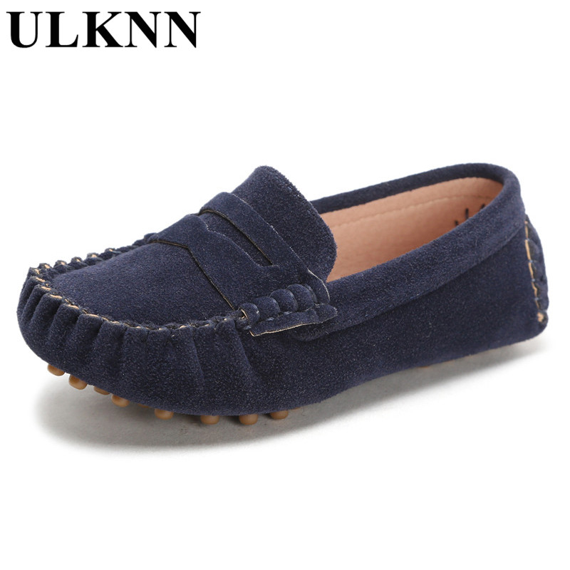 ULKNN Candy Color Children Soft Leather Loafers Kids Fashion Casual Boys And Girls Boat Shoes Single Shoes 21-32 Gray Shoe