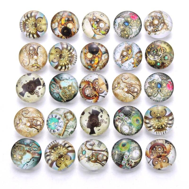 10 шт./лот, смешанные цвета и узор, 18 мм, стеклянные кнопки, ювелирное изделие, граненое стекло, оснастка, подходят, оснастки, серьги, браслет, ювелирное изделие - Окраска металла: AB218