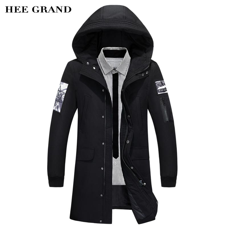 HEE GRAND Men Winter Warm Down Coat 2018 New Arrival Long Stretch Solid Color Print Design Male Waterproof Thick Outwear MWM1693