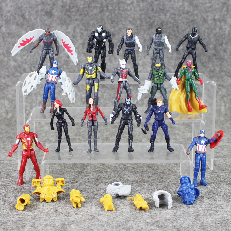 16pcs/lot Marvel superheroes Avengersr Captain America Civil War PVC Action Figure Iron Man Spiderman Ant-Man Falcon Model Toy