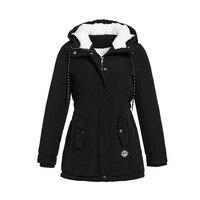 Women Jackets Casual Winter Warm Simple Black Gothic Slim Hooded Zipper Pocket Solid Coats OL Ladies Female Fashion Overcoats