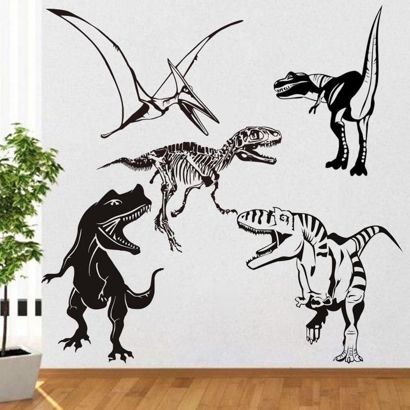 DCTOP כל מיני דינוזאורים קיר מדבקות לילדים חדרים נשלפים חיות ויניל קיר מדבקות קיר קישוט חדר השינה