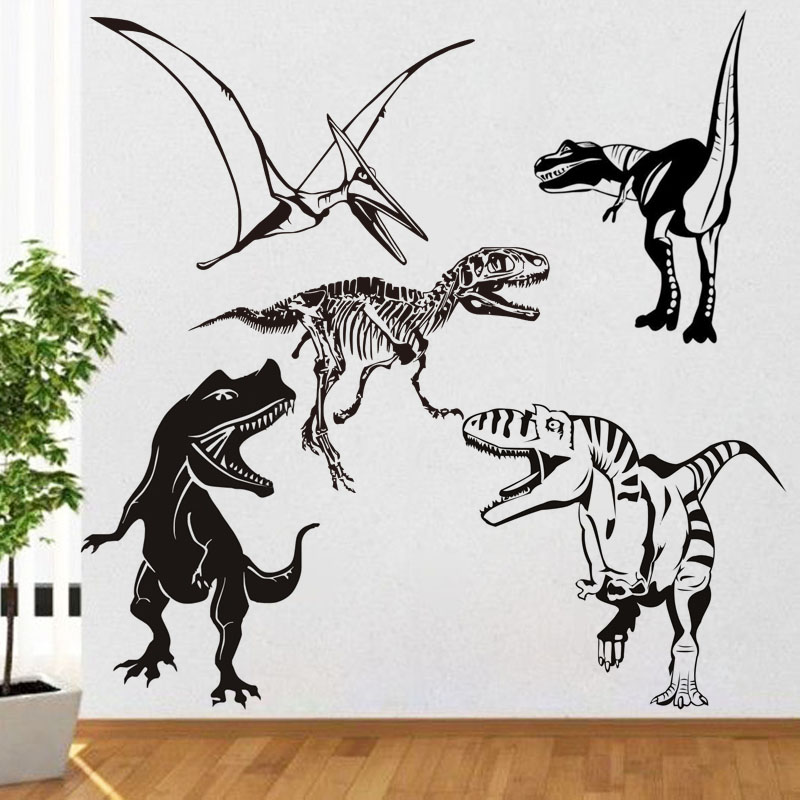 Dinosaur Wall Sticker Dino Skeleton Wild Animal Fossil Mural Room Design Pattern Boy Bedroom Kids Rooms Animals Removable Decals-in Wall Stickers from Home & Garden